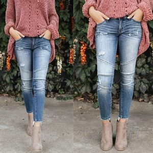 SCHEANA Distressed Skinny Jeans